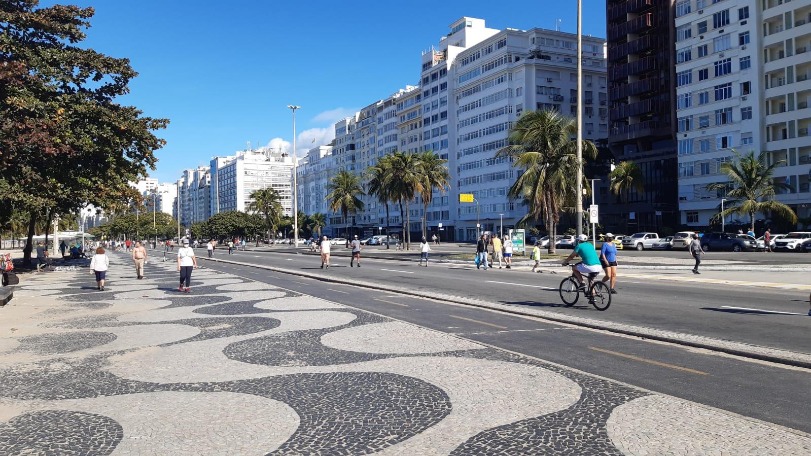 Na imagem, avenida Atlântica, em Copacabana