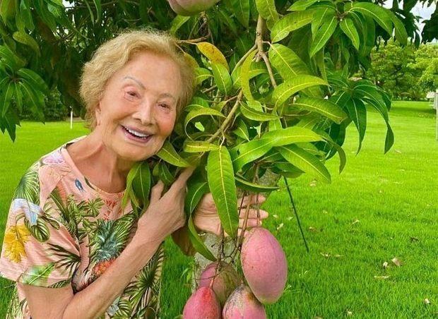 Glória Menezes abraçada a árvore na fazenda da família