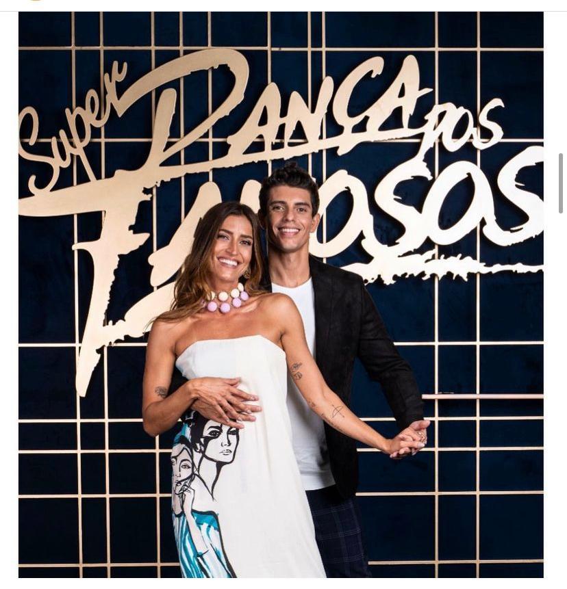 Maria Joana com o professor de dança Marcus Viana na apresentação da Super Dança dos Famosos