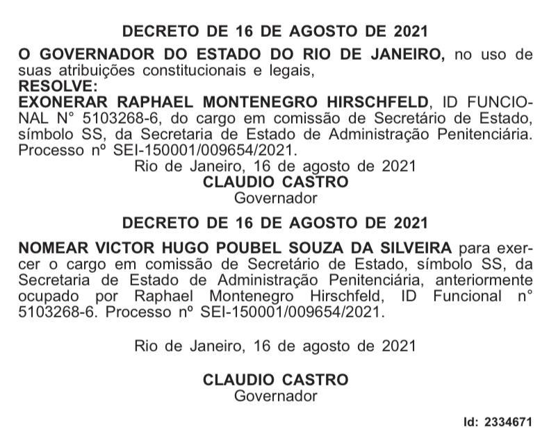 Raphael Montenegro é exonerado da Secretaria de Administração Penitenciária