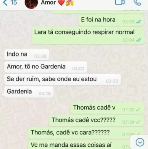 Thomas Lima mandou mensagem para a esposa momentos antes de desaparecer