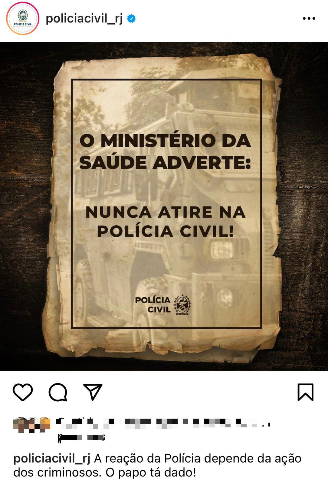Polícia Civil faz publicação momentos após perseguição