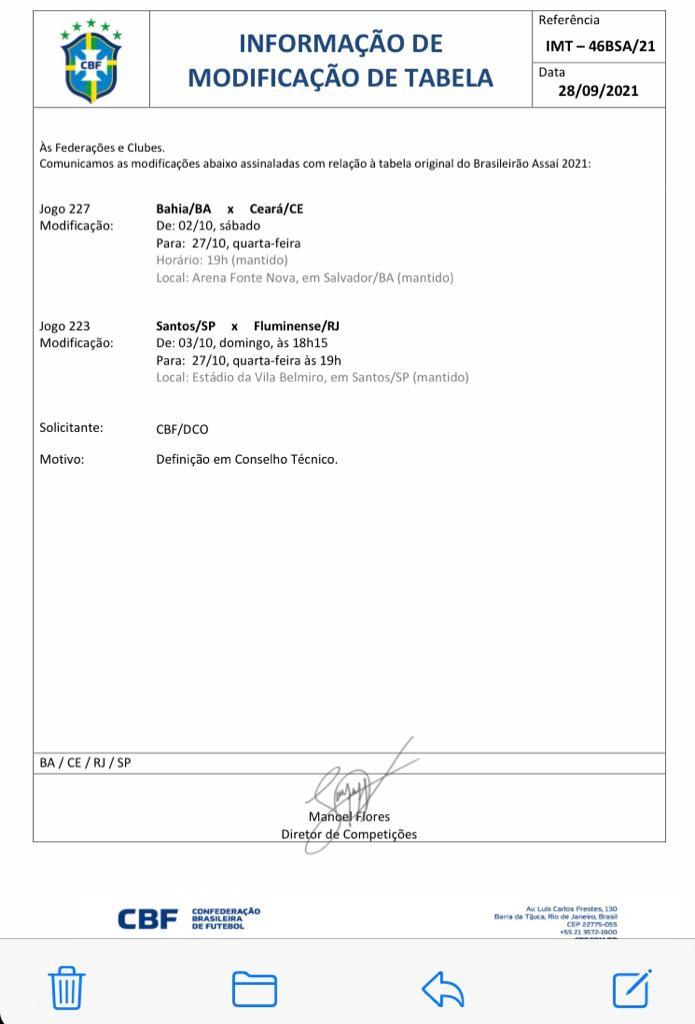 Confirmação das mudanças de três jogos do campeonato Brasileiro