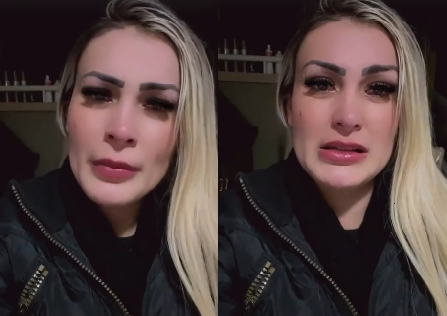 Andressa Urach chorando ao relembrar época na igreja