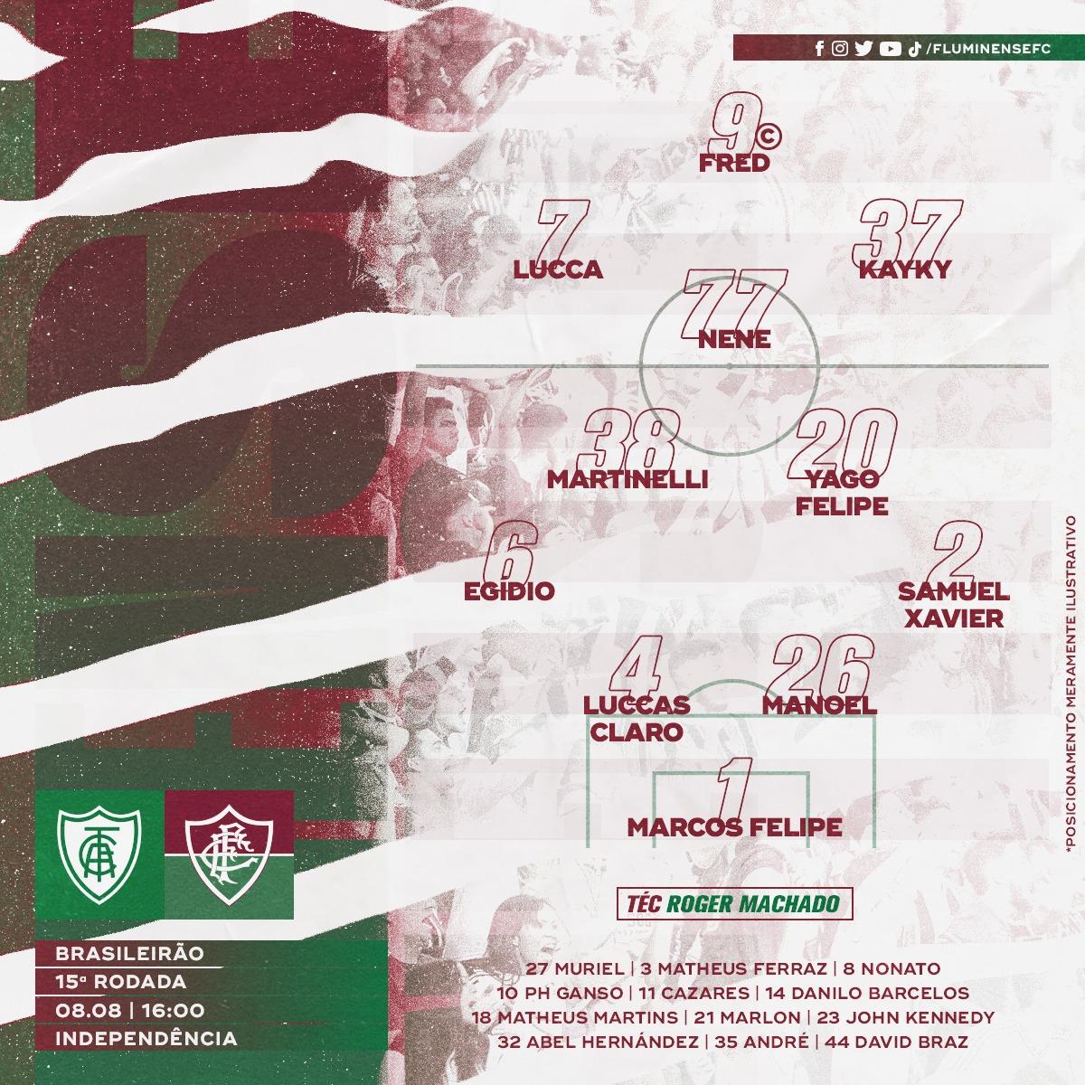 Fluminense escalado para pegar o América-MG pela Série A do Campeonato Brasileiro