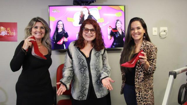 """Márcia Pinho, Leiloca e Isabele Benito durante gravação do programa """"De Frente com Elas"""""""