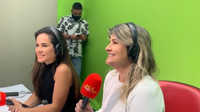 Isabele Benito e Márcia Pinho no estúdio