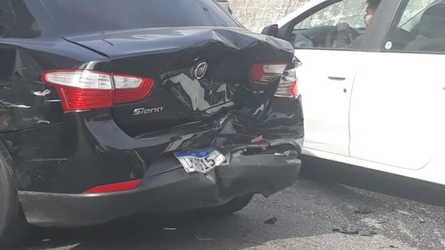 Carro que se envolveu em acidente na Avenida Marechal Rondon