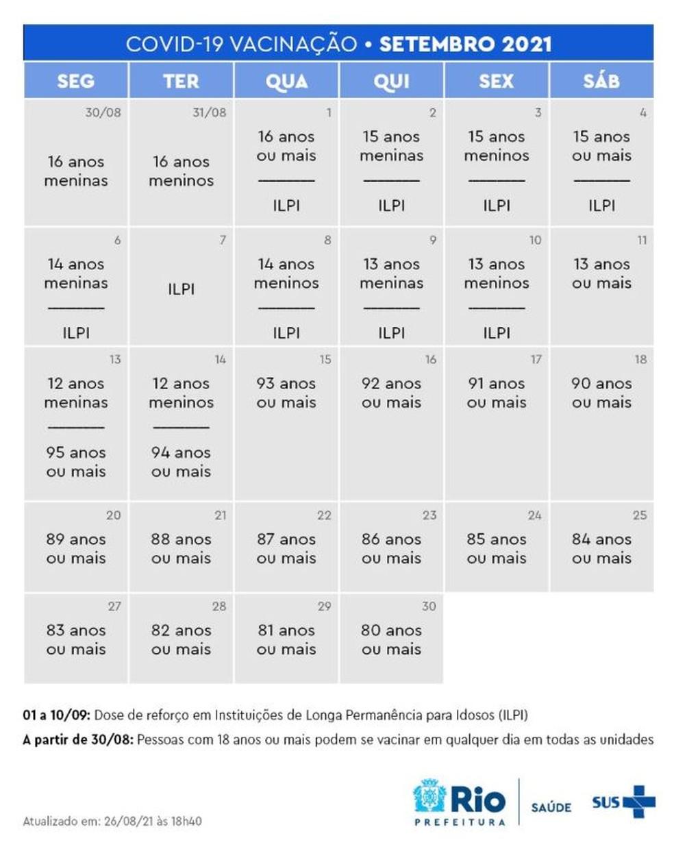 Calendário de vacinação Rio agosto