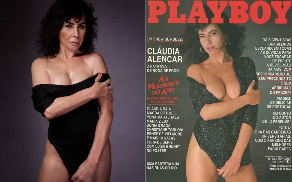 Claudia Alencar repete foto de capa de Playboy
