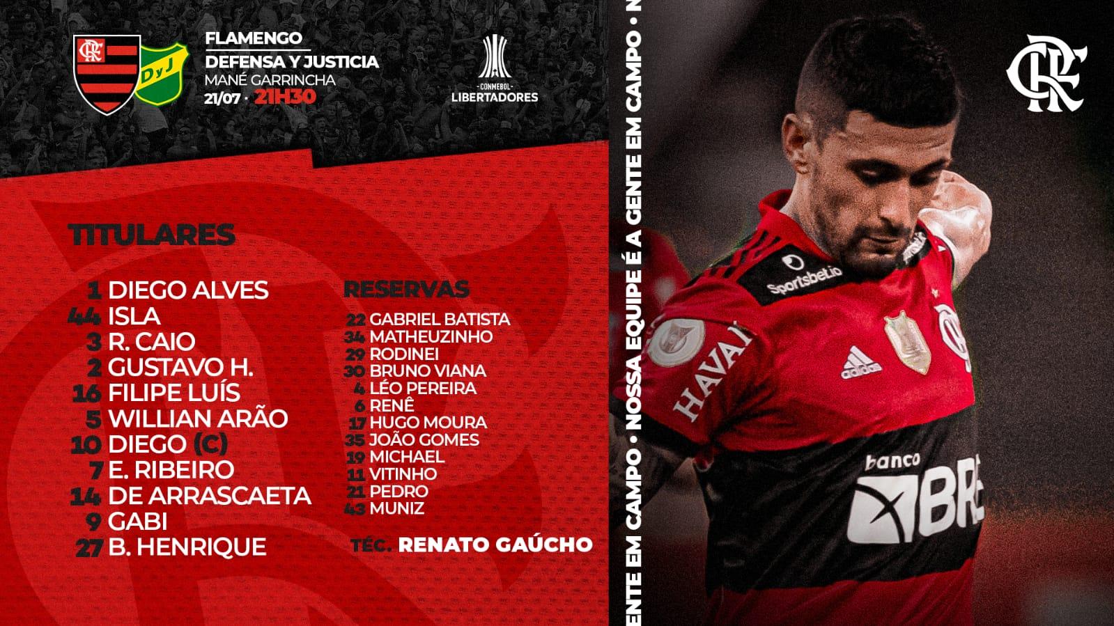 Flamengo escalado para pegar o Defensa y Justicia pelas oitavas de final da Libertadores
