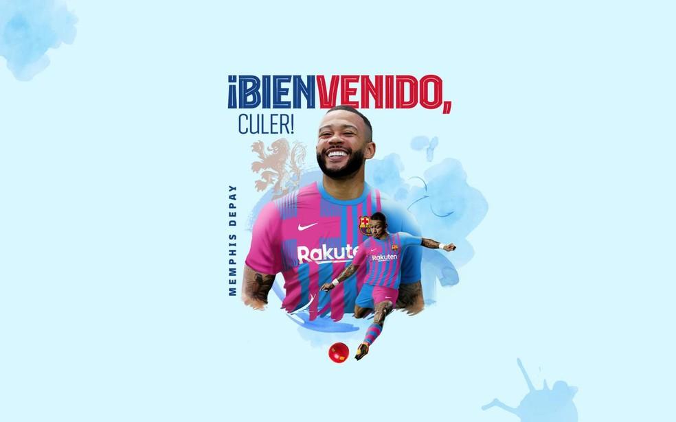 Barcelona divulga imagem confirmando contratação de Memphis Depay