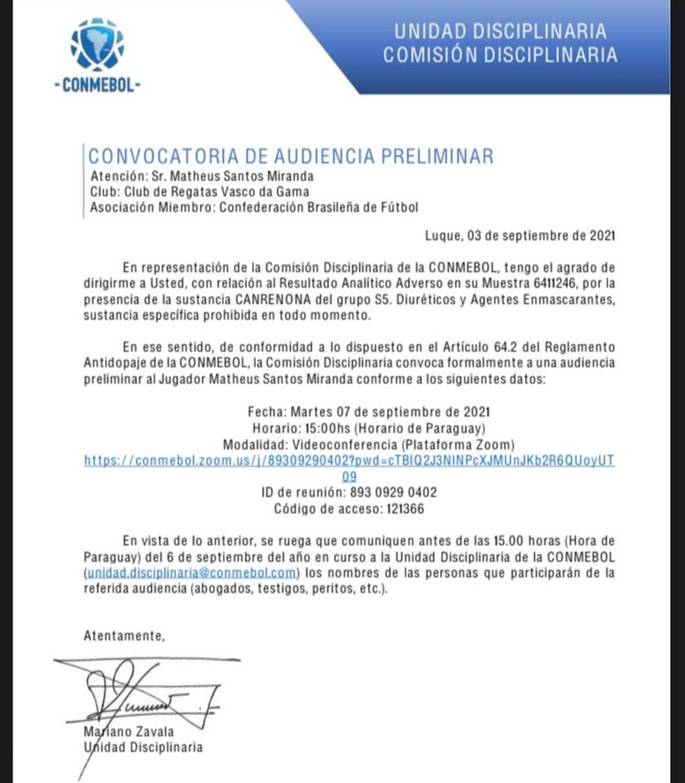 Convocação de videoconferência para tratar do exame antidoping de Miranda, do Vasco