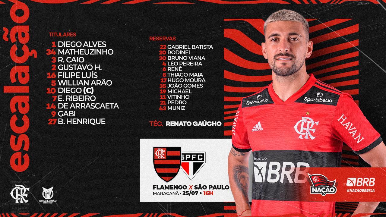 Flamengo escalado para pegar o São Paulo pelo Campeonato Brasileiro