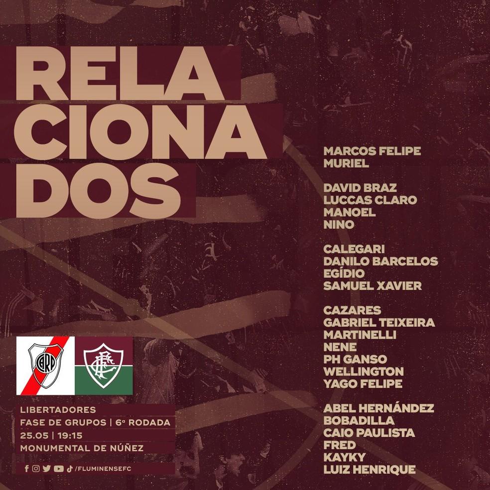 Lista do Fluminense para o jogo da Libertadores contra o River Plate