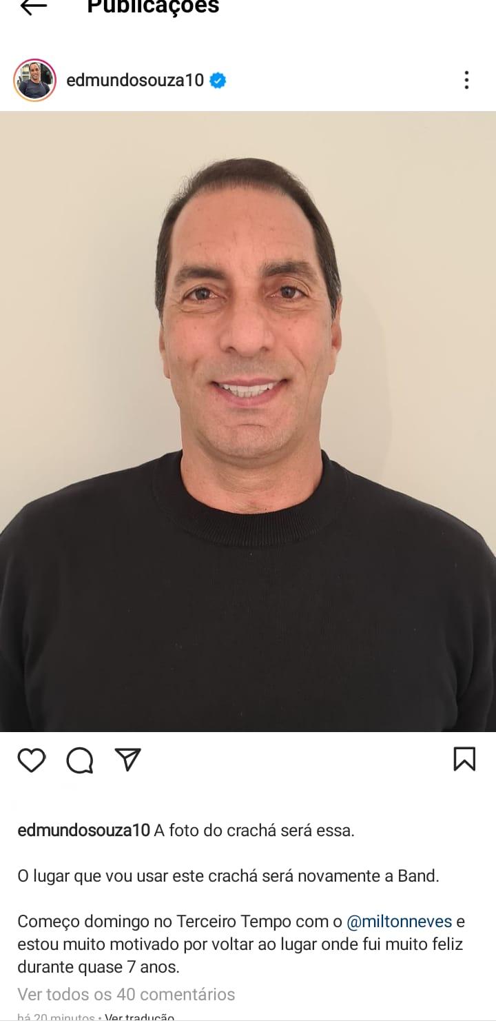 Edmundo anuncia no Instagram que retornará para a Band