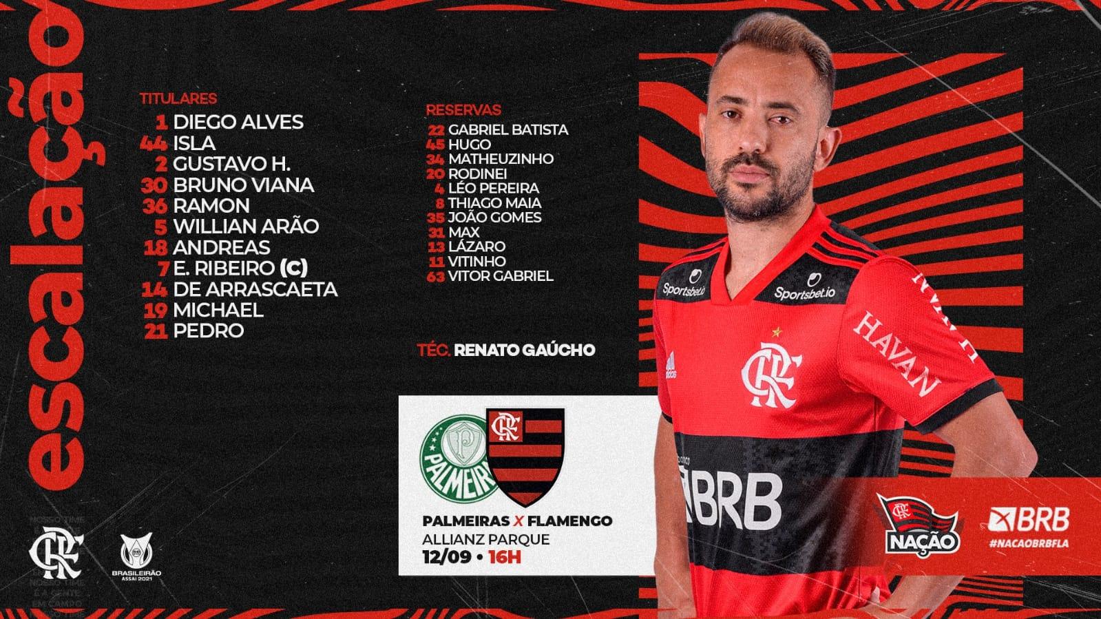 Flamengo escalado para pegar o Palmeiras pelo Campeonato Brasileiro