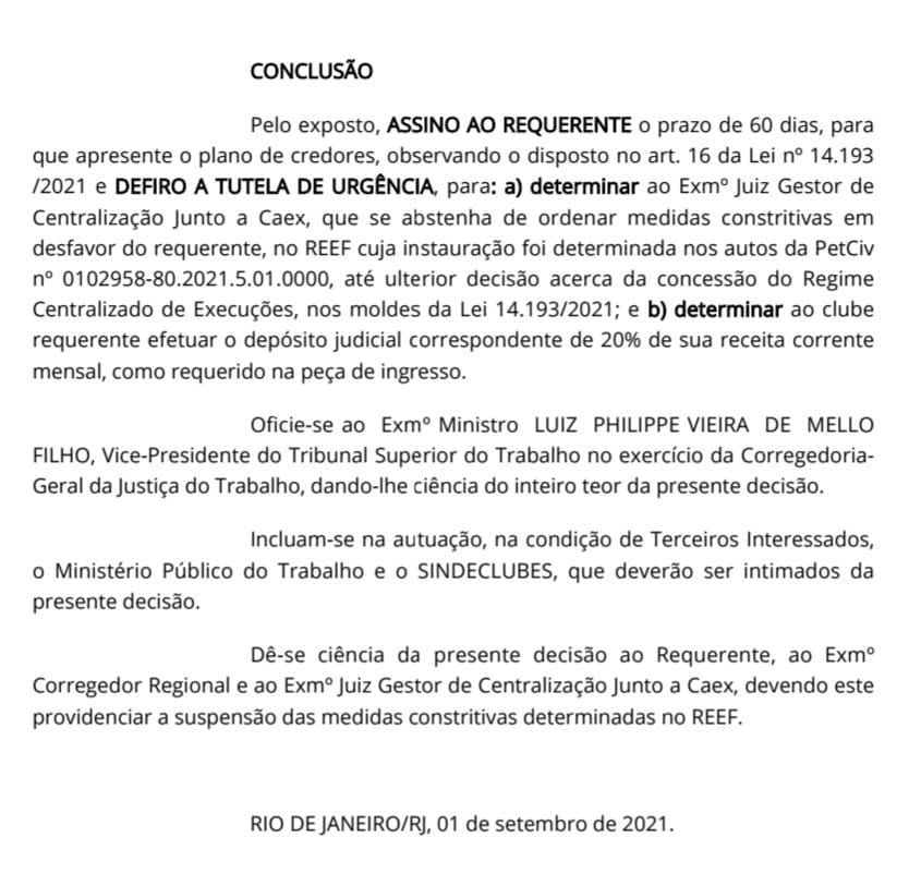 Decisão do TRT-RJ para suspender a Reef contra o Botafogo