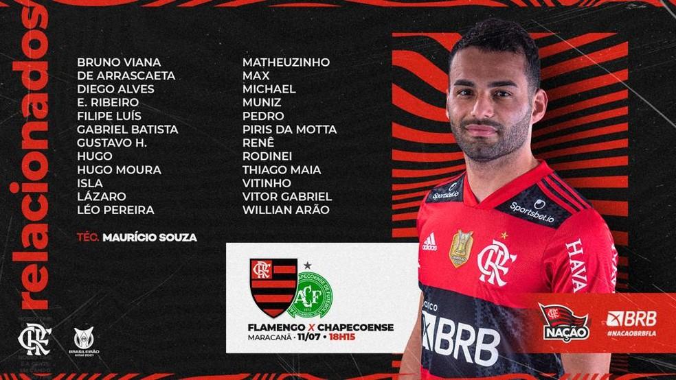 Flamengo divulga lista de relacionados para a partida contra a Chapecoense, pela Série A