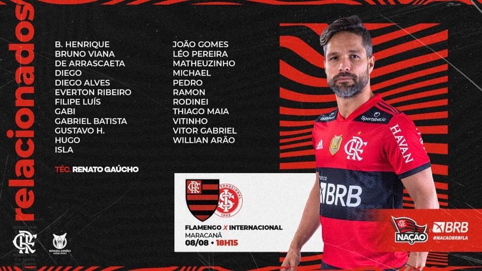 Flamengo divulga lista de relacionados para encarar o Internacional pelo Campeonato Brasileiro