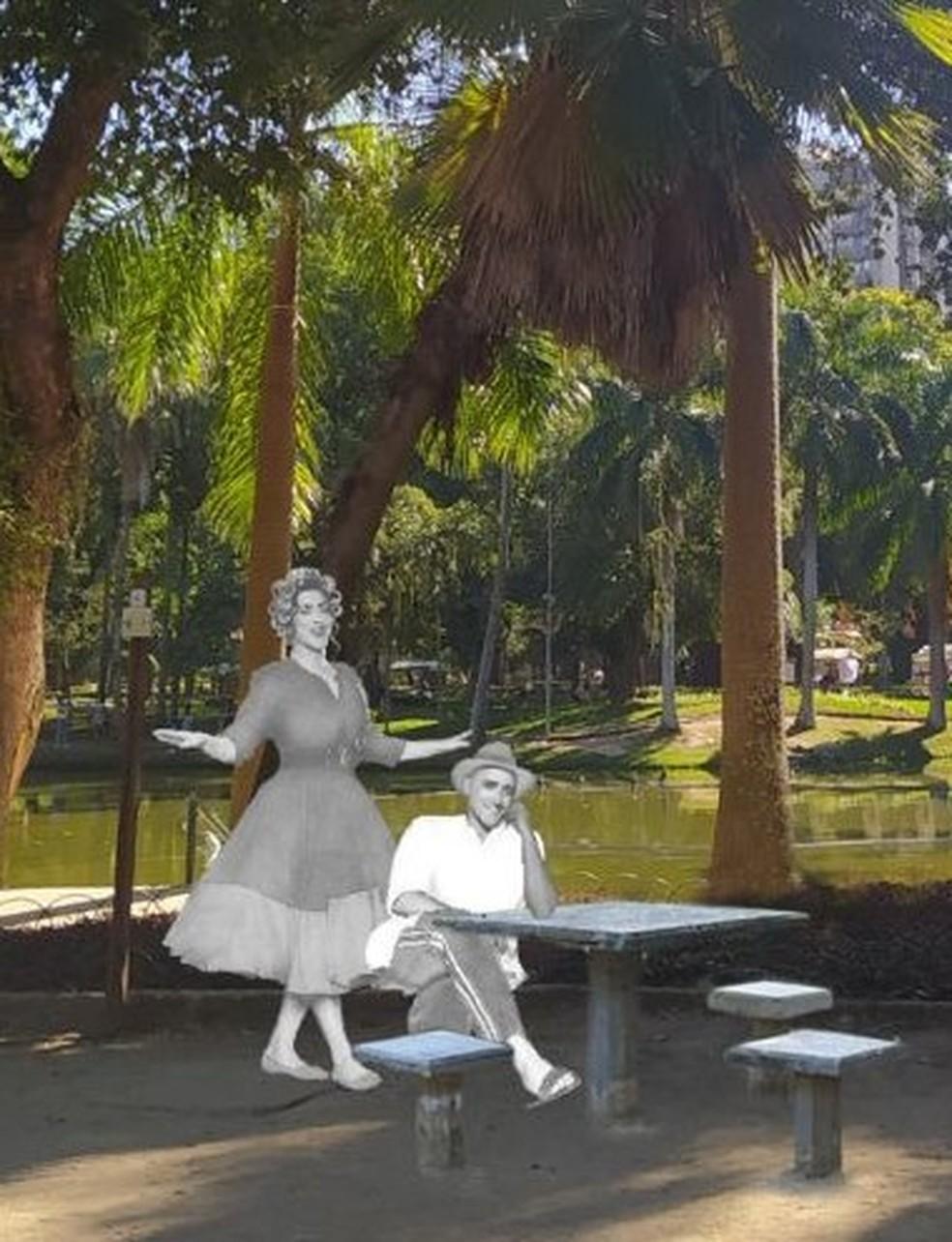 Estátuas em homenagem ao ator Paulo Gustavo