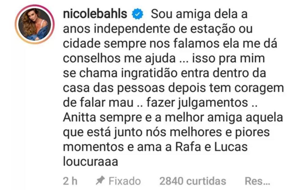 Nichole Bahls sai em defesa de Anitta em briga na web