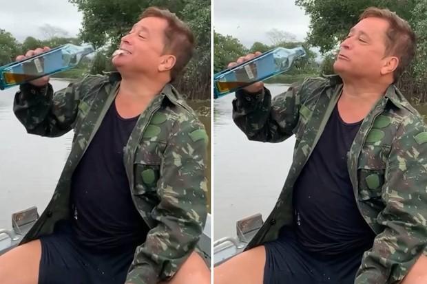 Cantor Leonardo come peixe vivo durante pescaria