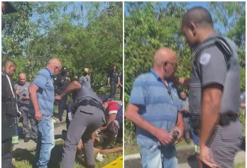 Pai flagra filho sendo preso por roubo em SP (Foto: Reprodução)