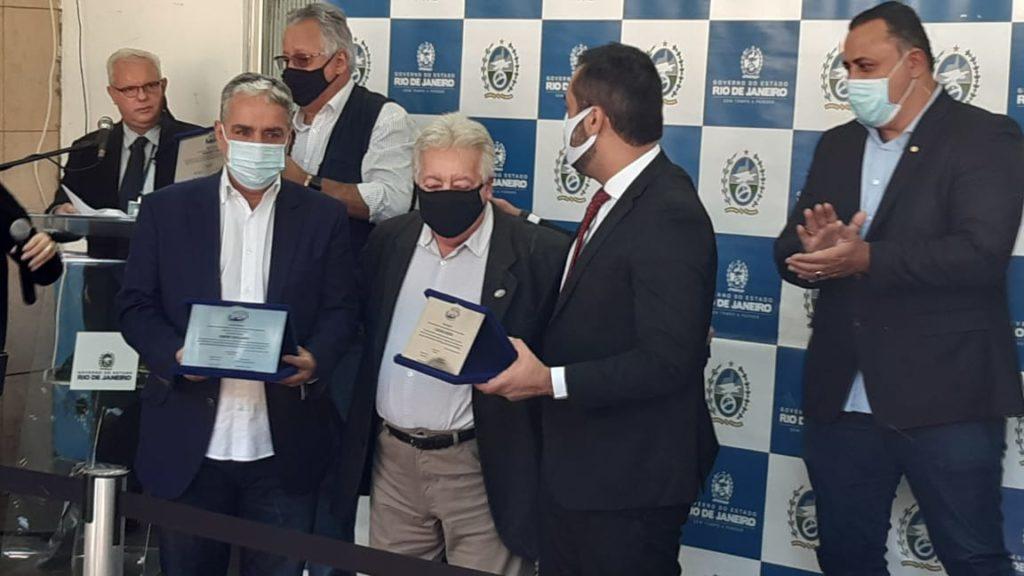 Imagens de Cláudio Castro, André Ceciliano, Dionísio Lins e o presidente do IPEM