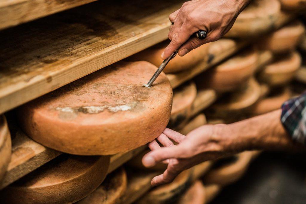 Imagem de queijos especiais com um homem testando