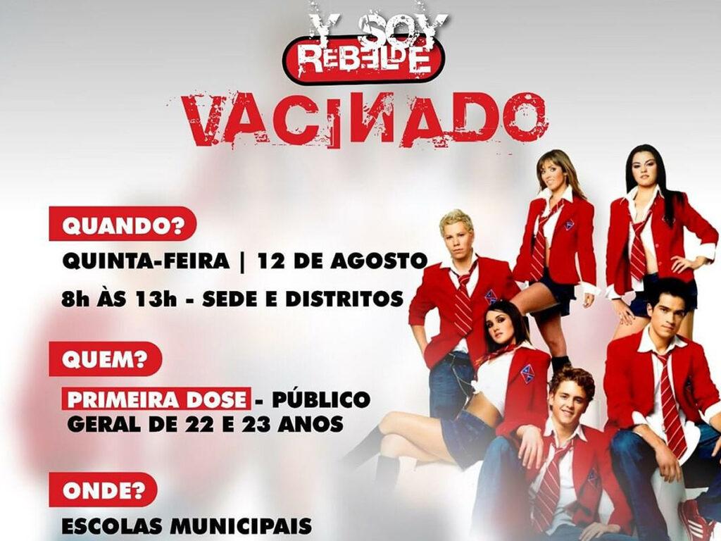 Prefeitura de Sobral (CE) usa foto da novela Rebelde para divulgar vacinação contra Covid-19