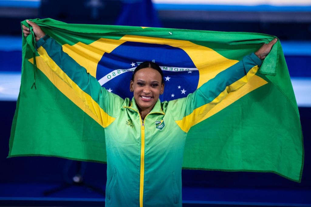 Brasileira no momento que teve confirmado o ouro olímpico