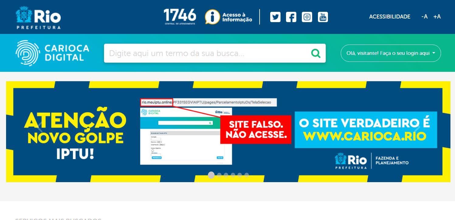 site falso da prefeitura do rio
