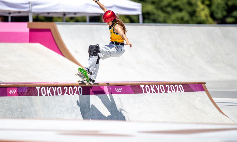 Dora Varella do Brasil durante a final do Skate Park.
