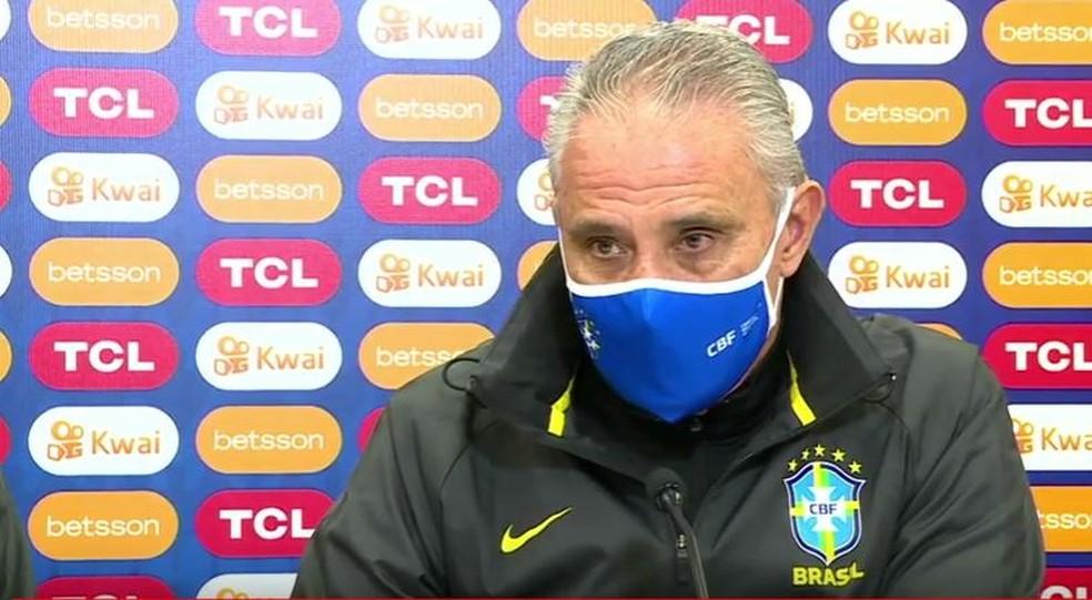 Tite concede entrevista coletiva antes do jogo contra a Colômbia pela Copa América