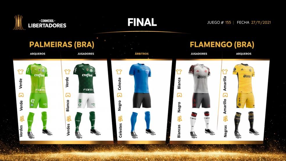 Conmebol define uniformes da final da Libertadores para Palmeiras e Flamengo