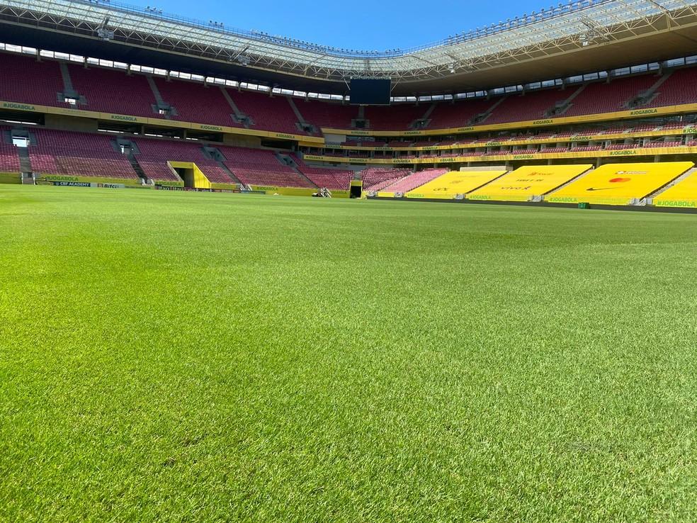 Gramado da Arena Pernambuco, em Recife, recebe tratamento especial para jogo entre Brasil e Peru pelas Eliminatórias