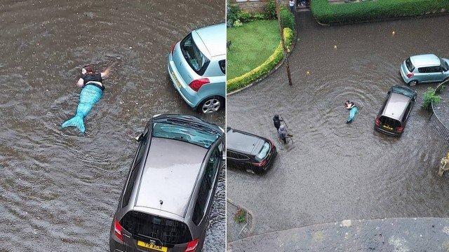 """""""Sereia"""" é vista nadando em inundação no Reino Unido"""